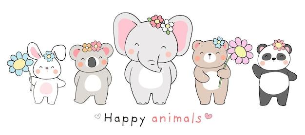 Нарисуйте дизайн баннера счастливое животное на весну и пасху Premium векторы