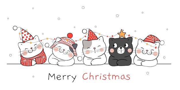 배너 재미있는 고양이 그리기. 겨울 새 해와 크리스마스.