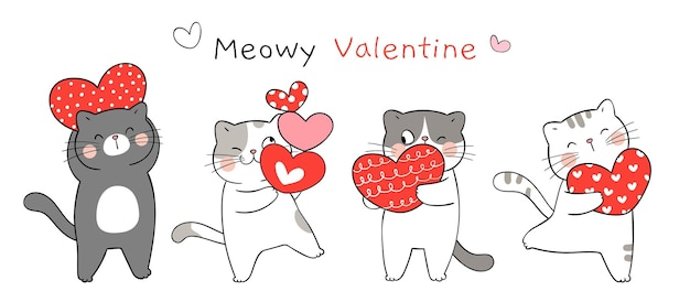 Draw banner funny cat with red heart for valentine day.