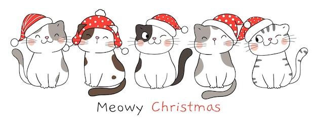 Нарисуйте баннер забавных кошек на белом на новый год и рождество