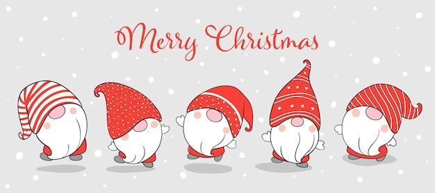 Нарисуйте баннер забавных гномов на рождество.