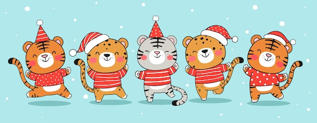 Draw banner funny tiger with santa hat for christmas