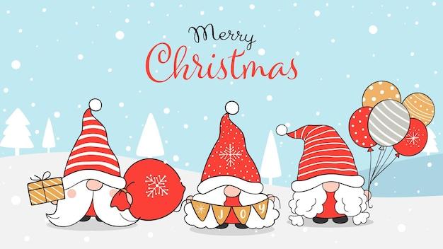 Нарисуйте баннер гном зимой на рождество