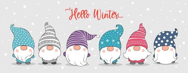 Нарисуйте знаменных гномов в снегу на зиму и рождество