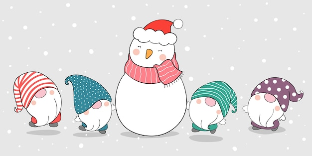 Draw banner gnomes with snowman in winter and christmas.