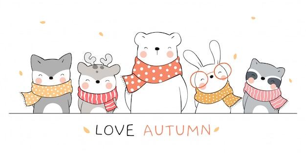 Нарисуйте баннер счастливых животных для осеннего сезона.