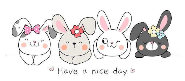 Draw banner happy bunny for spring and easter Premium Vector