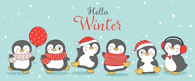 クリスマスと冬の雪の中でバナー幸せなペンギンを描く
