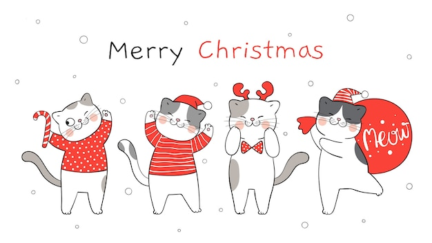Draw banner happy santa cat for winter new year and christmas