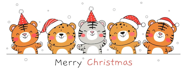 Draw banner happy tiger on white for new year and christmas