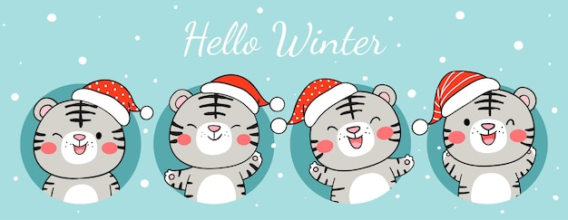 Draw banner happy white tiger in snow for winter and christmas