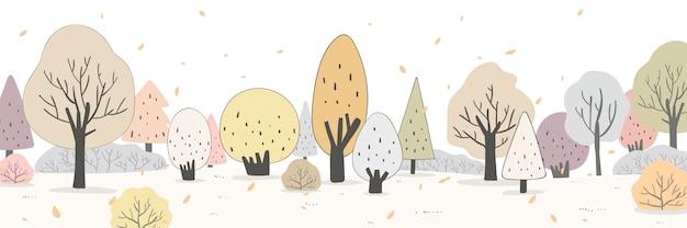 Нарисуйте баннер панорамы красоты леса осенью осенний пейзаж.