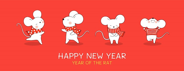 Draw banner rat for christmas day and new year.