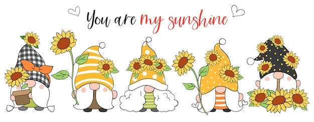 Draw banner sunflower gnome for spring and summer