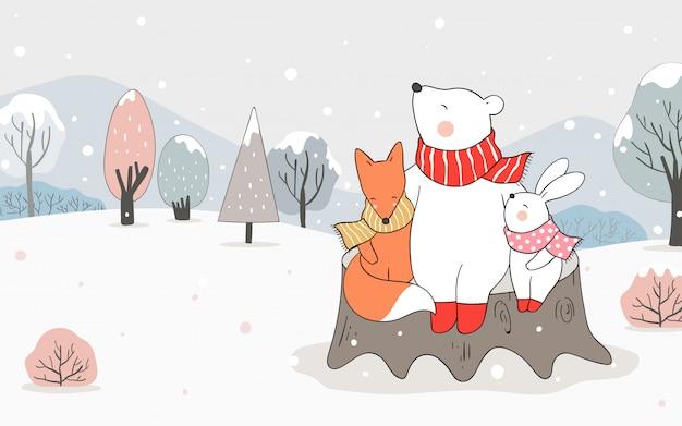 Нарисуйте медвежьи объятия лисы и кролика в снегу на зиму.