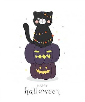 할로윈 호박에 앉아 검은 고양이를 그립니다.