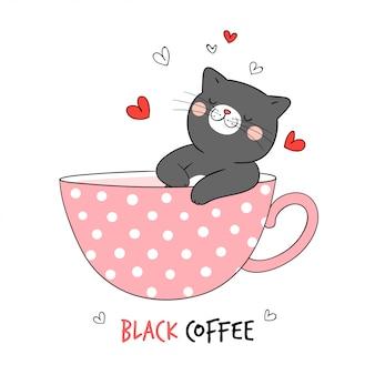 Нарисуйте черного кота, спящего в чашке кофе.