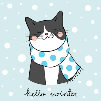 Draw black cat in winter season doodle cartoon style