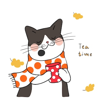 Draw black cat with beauty scarf in tea time for autumn