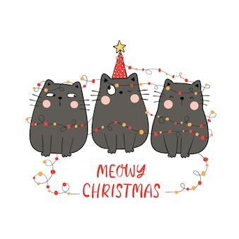 Draw black cat with meowy christmas concept