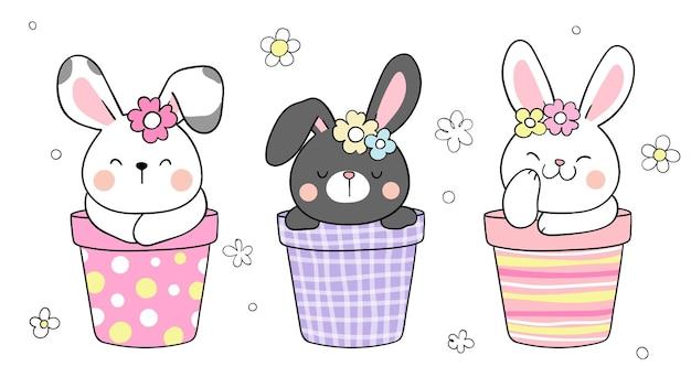 Нарисуйте кролика в горшке с цветком на пасху и весну Premium векторы