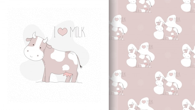 Draw card and seamless pattern with cute cow.
