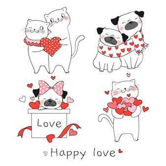 Draw cat and pug dog with little heart for valentine day