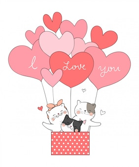Draw cat in balloon heart shape sweet pink color.