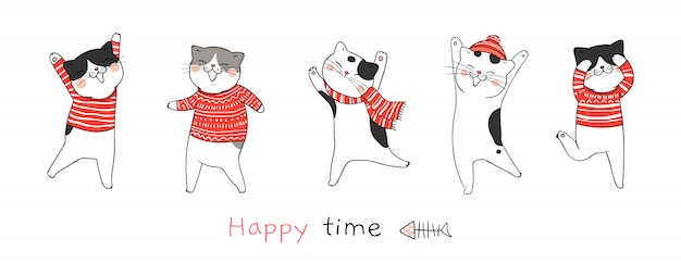 Draw cat dance for christmas day and new year.