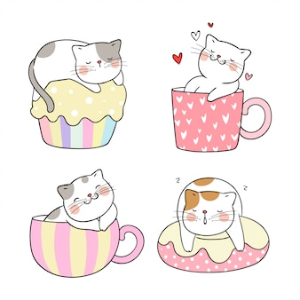 Draw cat different pose in cup of tea and cupcake.