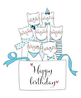 Draw cat in gift box and word happy birthday doodle style