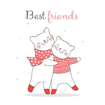 Draw cat hug in snow for christmas with word best friends.