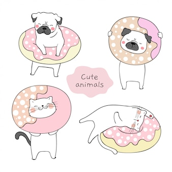 Draw cat and pug dog with sweet donut.