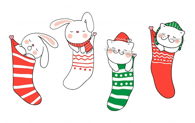 Draw cat and rabbit sleep in christmas sock for christmas day