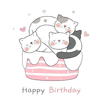 Draw cat sleeping on sweet cake for birthday.
