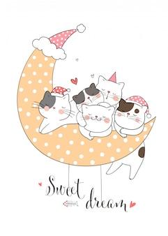 Draw cat sleeping with moon polka dot.