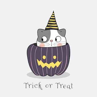 Нарисуйте кота носить шляпу ведьмы в тыкве на белом. для хэллоуина.