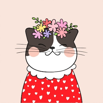 Draw cat with beauty flower on head pink pastel background