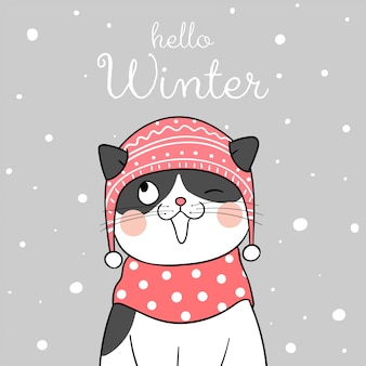Draw cat with beauty scarf in snow for christmas.