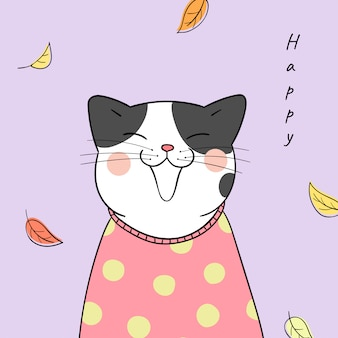 Draw cat with beauty sweater for autumn season.