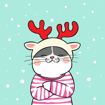 Draw cat with beauty sweater in snow for winter season