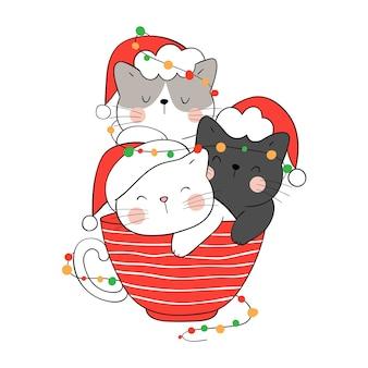 Нарисуйте кота с рождественской лампочкой в красной чашке на новый год и зиму.