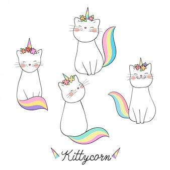 Draw cat with flower on head and word kitty unicorn.