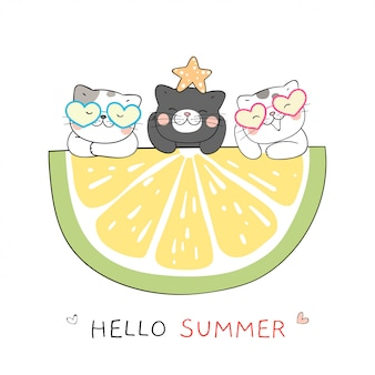 Draw cat with lemon slice for summer.doodle cartoon style.