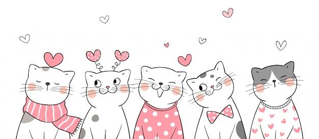 バレンタインのために小さな心で猫を描きます。
