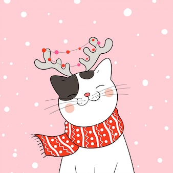 Draw cat with red scarf in snow for christmas and new year.