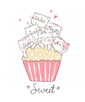 Draw cat with sweet cup cake doodle style.