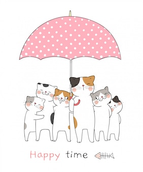 Draw cat with sweet umbrella so happy