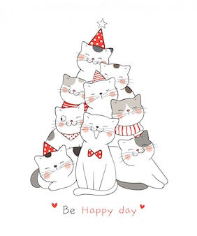 Draw cat with word be happy day  for christmas.