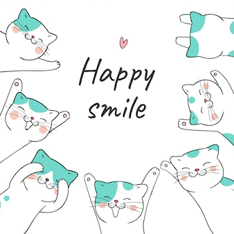 Draw cat with word happy smile.
